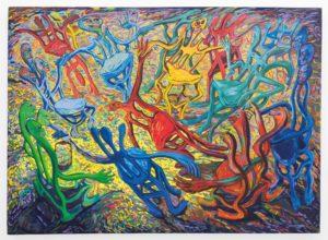 Cosmos Shiridzinomwa Party of crooks II Painting Five Bhobh Zimbabwe Zeitz MOCAA