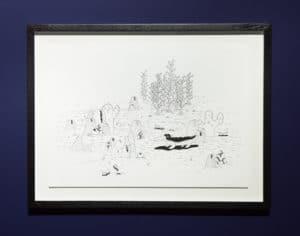 Atang Tshikare. Kwena ya ma-nageng (Crocodile of the Soil). 2016. Fabriano Academia paper, Archival ink pen. 29.7 x 42 cm. Installation view.