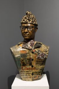 Maurice Mbikayi and Nicola Holgate. Two Rises and Falls (Mobutu). 2019. Papier maché and mixed media bust. 71 x 42 x 21 cm. Installation view.