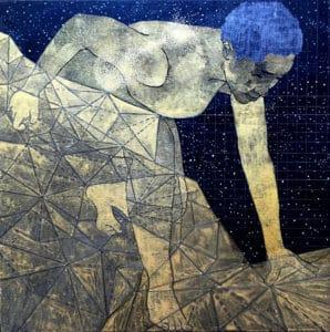 Pamela Phatismo Sunstrum. Quadra II. 2016. Watercolour and gouache on wood panel. 25.5 x 25.5 x 5cm.