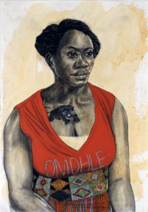 Robert Pruitt. Woman Holding Garant. 2015. Conte and pastel on coffee stained paper. 100 x 70 cm