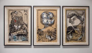 William Kentridge. Art in a State of Siege, Art in a State of Grace, Art in a State of Hope. 1988. Silkscreen on velin d'arches creme and brown paper. Dimensions Variable