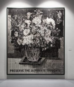 William Kentridge. Preserve the 16 Private Thoughts. 2014. Indian ink and red pencil on found pages. Dimensions Variable