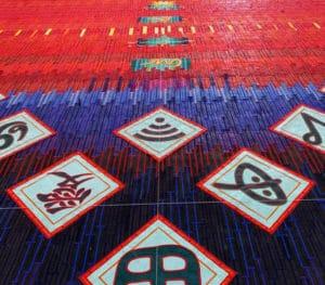Idéogrammes signes Abdoulaye Konaté's Zeitz MOCAA Exhibitions artist Textile Idéogrammes, signes, symboles et logos (Hommage à Youssouf Tata Cissé et Germaine Dieterlen