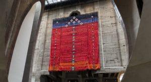 Abdoulaye Konate, Idéogrammes, signes, symboles et logos (Hommage à Youssouf Tata Cissé et Germaine Dieterlen), 2020, fabric, 12 x 15 m. Courtesy of the artist. Photo by Dillon Marsh, © Zeitz MOCAA